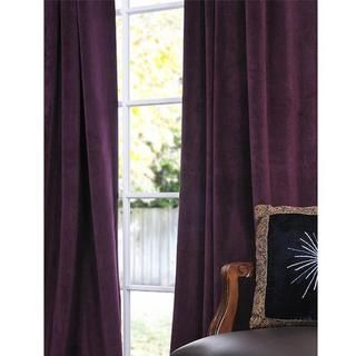 Signature Eggplant Velvet 108 inch Blackout Curtain Panel