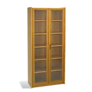 Mid Century Danish Bookcase with Glass Doors Color Solid