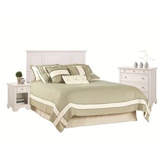 Naples Queen/Full White Headboard Night Stand and Chest Set
