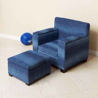 Blue Denim Fabric Kids Club Chair and Ottoman Set