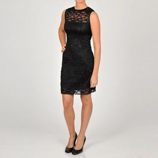 Onyx Nite Womens Lace and Beaded Dress