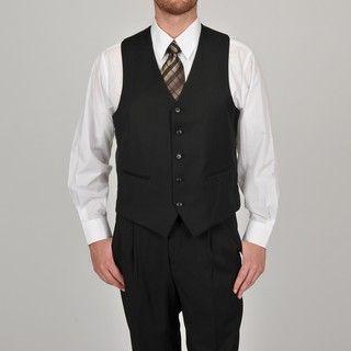 Adolfo Mens Solid Black 5 button Suit Separate Vest