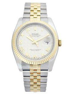 Rolex Datejust Ivory Pyramid Roman Dial Jubilee Bracelet Fluted Bezel