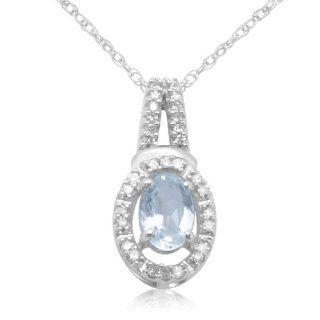 10k White Gold Oval Aquamarine and Round Diamond Pendant