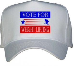 VOTE FOR WEIGHT LIFTING White Hat / Baseball Cap Clothing
