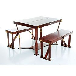 Folding Wood Picnic Table and Bench Set