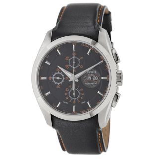 Tissot Mens Couturier Black Dial Black Leather Strap Watch