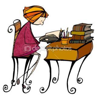 Illustrated cute little girl learning  Stock Photo © rebekka