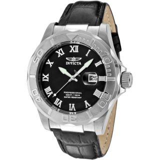 Invicta Mens Pro Diver Black Genuine Calfskin Leather Watch