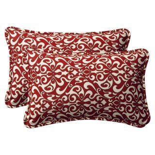 Pillow Perfect Decorative Red/ White Damask Outdoor Toss Pillows (Set
