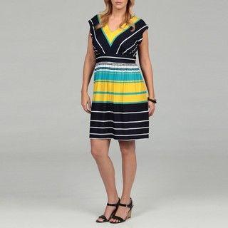 Shelby & Palmer Womens Plus Striped ITY Dress