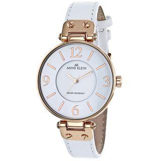 Anne Klein Womens Stainless Steel White Leather Strap Watch