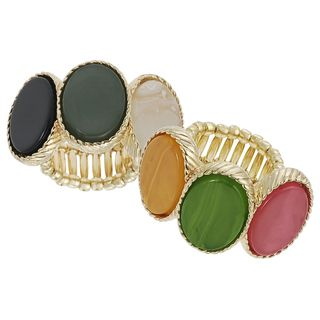 Journee Collection Goldtone Multi color Acrylic Vintage Stretch Ring