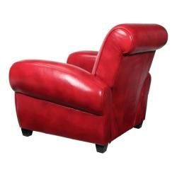 Miguel Red Leather Recliner Club Chair