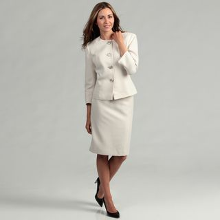 Evan Picone Womens Beige/ Gold 4 button Skirt Suit