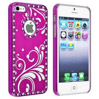 BasAcc Bling Hot Pink with Flower Snap on Case for Apple iPhone 5