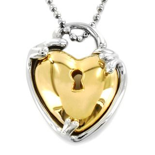Two tone Stainless Steel Heart Lock Necklace