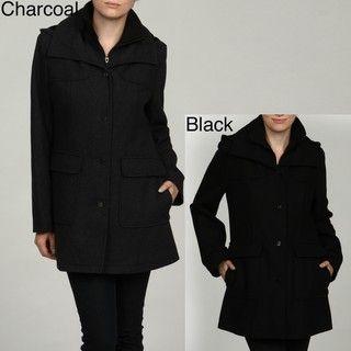 Fleet Street Womens Knit Collar Front Button Coat