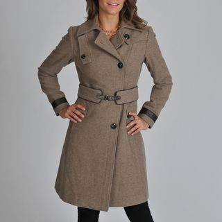Ivanka Trump Womens Melton Wool Blend Coat with Leather Trim