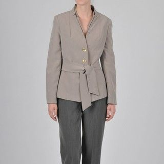 Signature by Larry Levine Womens Mandarin Collar Pant Suit