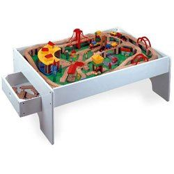 145 Piece Wood Train Set with Activity Table Toys & Games