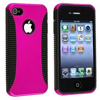 Black TPU/ Pink Hard Hybrid Case for Apple iPhone 4/ 4S