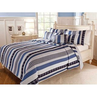 Cameron Contemporary Blue and White Cotton Striped 3 piece Quilt Set