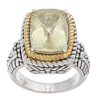 Oro Leoni 14k Gold and Silver Lemon Quartz Ring (Size 7)