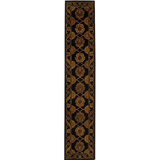 Handmade Heritage Mahal Black Wool Runner (23 x 14)