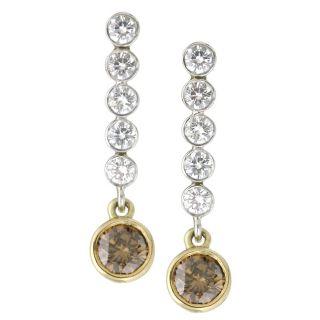 Platinum 18k Gold 1 7/8ct Brown/ White Diamond Earrings