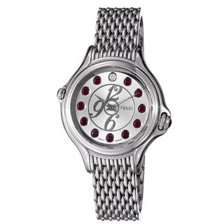 Fendi Womens Crazy Carats Silver Crystal Dial Stainless Steel Watch