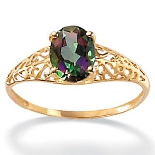 PalmBeach Jewelry 10k Gold Oval Cut Mystic Topaz Filigree