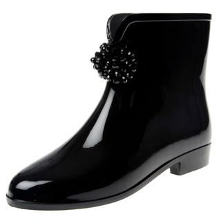 Henry Ferrera Womens Beaded Bow Rubber Rain Boots