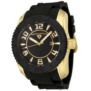 Swiss Legend Mens Commander Black Dial Black Silicone Watch