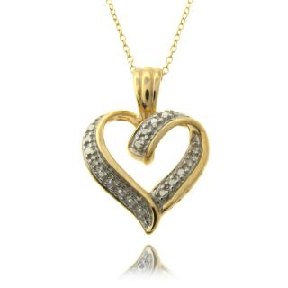 14k Gold over Silver Diamond Accent Heart Necklace