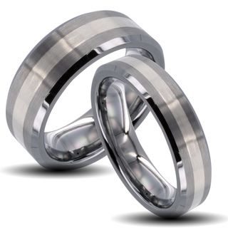 Tungsten Carbide Striped Inlay Beveled Edge His and Her Wedding Band
