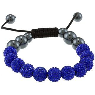 La Preciosa Blue Crystal and Hematite Bead Macrame Bracelet