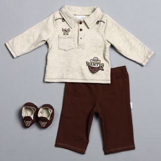 Vitamins Baby Newborn Boys Wanted 3 piece Pant and Shoe Set