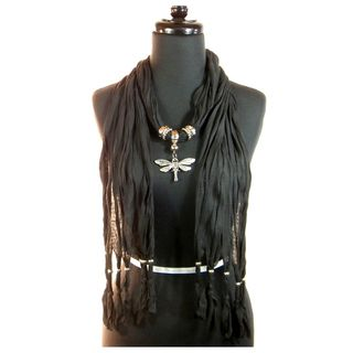 Black Fashion Jewelry Scarf with Silver Toned Dragonfly Pendant