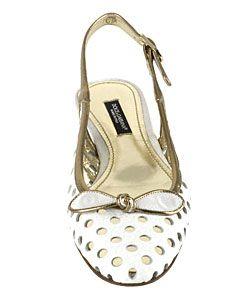 Dolce & Gabbana White Leather Slingback Flats