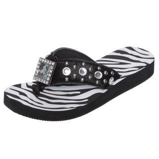 Hidden Soles Womens Black Zebra Rhinestone Thong Sandals