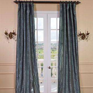 Meridian Silver Blue Faux Silk Curtain