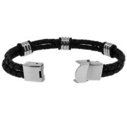 Stainless Steel and Black Leather Mens Station Bracelet