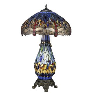 Tiffany style Blue Dragonfly Table Lamp with Lighted Base