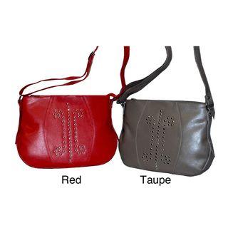 Kozmic Womens Leather Metal Pin Studded Handbag
