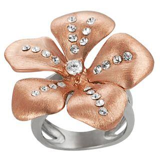 Journee Collection Coppertone Steel Cubic Zirconia Flower Ring