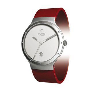 Obaku Womens V119LCWRR Red Leather White Dial Quartz Watch