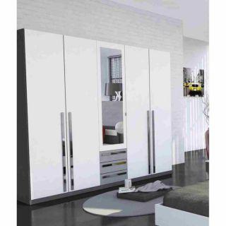 EFFY Armoire 5 portes Blanc/Gris 214x52x210cm   Achat / Vente ARMOIRE
