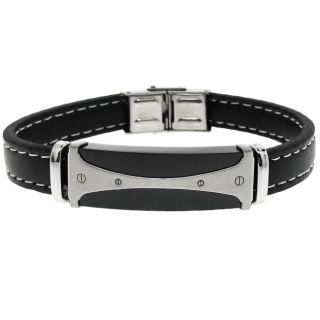 Black tone Stainless Steel and Black Leather Mens Bracelet