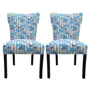 Bella Menagerie Blue Bird Upholstered Dinning Chairs (Set of 2